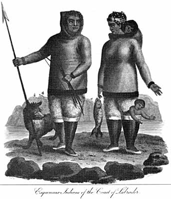 By the late 18th century, the Moravian missionaries had established themselves along the Labrador coast. Since no original clothing from this period has survived, both written and pictorial records such as this engraving provide clues to the clothing worn by the Inuit during the early 1800s.