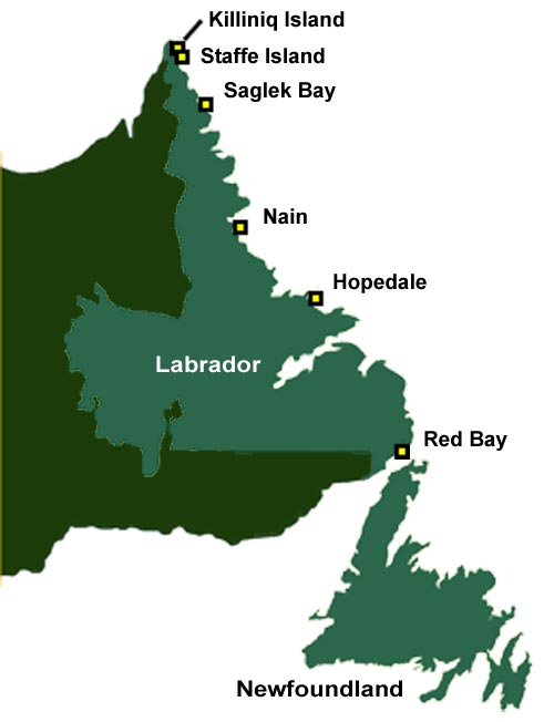 Ancestors of the modern-day Inuit initially inhabited only the northernmost reaches of Labrador, such as Killiniq (formely Killinek) and Staffe Islands, but by the end of the 16th century had migrated down the coast to regions south of Nain. Archaeological evidence has uncovered settlements at such places as Saglek, Nain, Hebron, Okak, Seven Islands Bay, and Home Island.