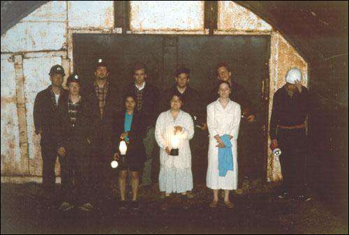 The cast of Place of First Light in Number 4 Mine, Bell Island, 1997.