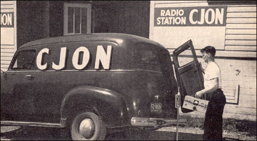 Jack Squires loads CJON's mobile transmitter van in preparation for an important outside broadcast.
