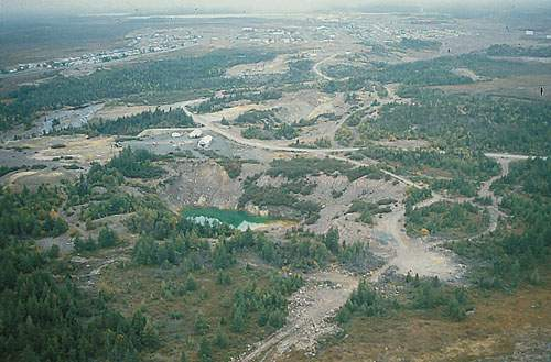 Aerial view of the original ASARCO mine site in Buchans, NL.