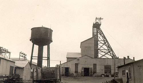 Director headframe and mill, Buchans mine. The headframe houses the hoisting equipment above the mine shaft.