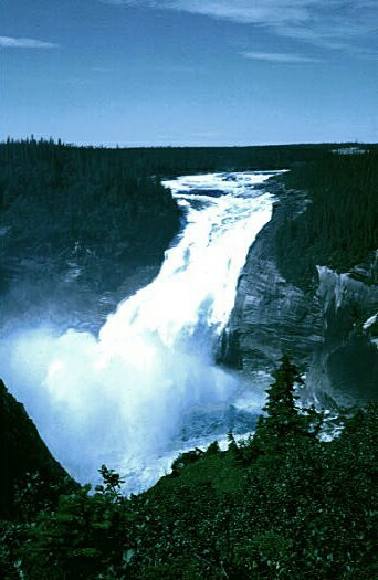 The falls and the gorge were cut by forward migration of the Churchill River as it gradually cut down into the central Labrador plateau. This view was taken prior to the diversion of much of the water to the hydroelectric plant.