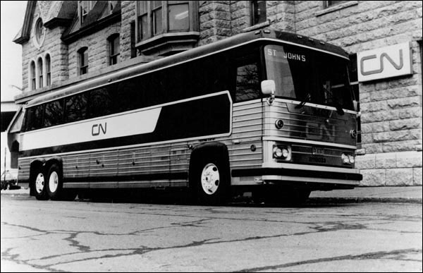 CN buses replaced the passenger train service in 1969, and reduced the trip from St. John's to Port aux Basques from 22 hours to 14.