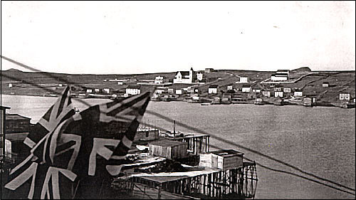 St. Lawrence is located on the southeast coast of the Burin Peninsula. The Catholic and the Anglican Churches can be seen in the background.