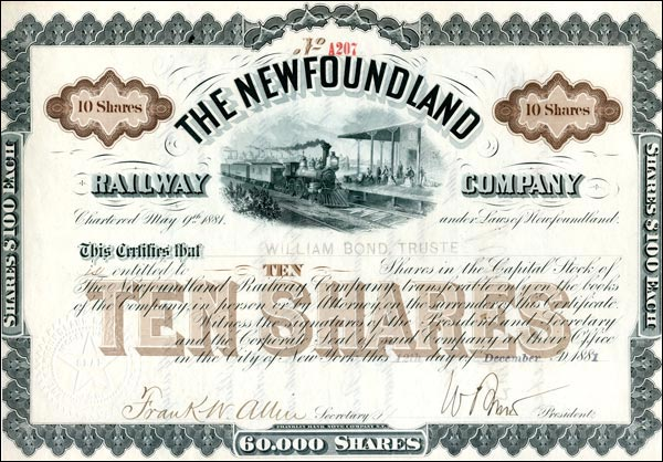 From 1881 to 1884 the company built a 57 mile line from St. John's to Whitbourne before going into receivership.