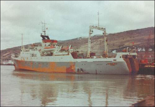 The Andrey Markin in St. John's. Built in 1977 in the USSR, it is one of the many trawlers of the former Soviet Union that have fished on the Grand Banks since the mid 1950's.