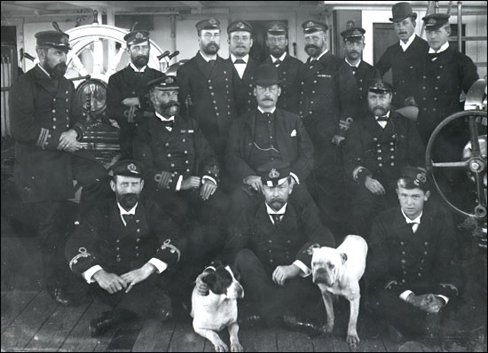 Officers and crew of one of the Reid coastal steamers, probably the SS Home.