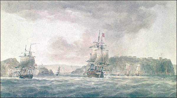 """Titled """"Outside view of the Harbour of St. John's,"""" the watercolour is attributed to Nicholas Pocock."""