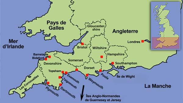 Cote Sud Angleterre carte angleterre sud   cosprocare