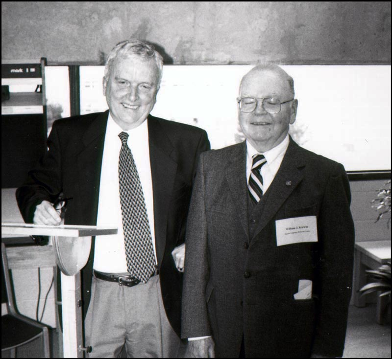 Dr. Patrick O'Flaherty (left) and Dr. William J. Kirwin. Dr. George M. Story (1927-1994) was the third editor for the project. All three were members of Memorial's English Department.