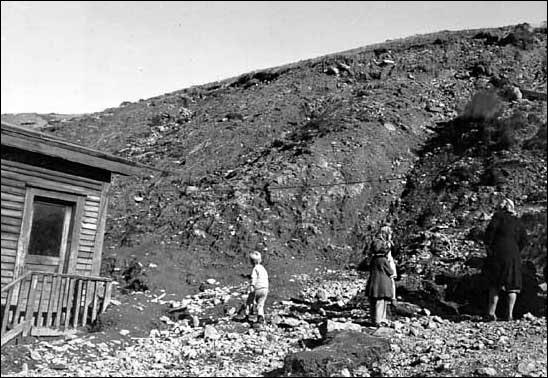 Debris path produced by landslide on Southside Rd., St. John's in September 1948.