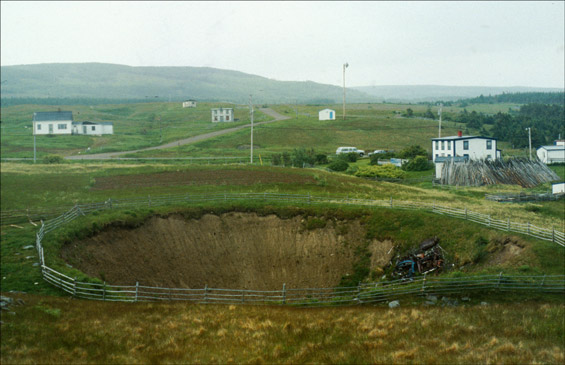 Sinkholes are funnel-shaped depressions, or sinks, in the ground surface, commonly tens of metres in diameter.