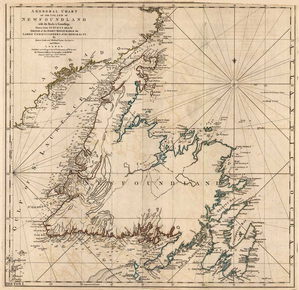 """""""A General Chart of the Island of Newfoundland  with the rocks and soundings… By James Cook and Michael Lane Surveyors"""". Published by Thomas Jefferys in 1775."""