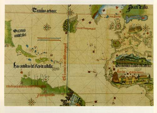 """The Cantino map is the earliest positively dated map of America. The mid-Atlantic area, labeled """"Terra del Rey de Portugall,"""" is one of the earliest representations of Newfoundland and Labrador in any detail. The original map is in the Biblioteca Estense in Modena, Italy."""