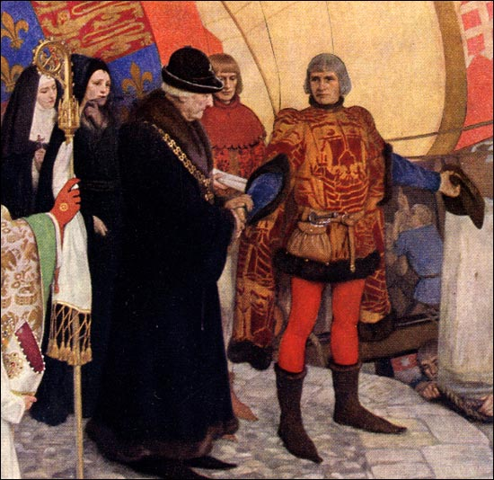 """A detail from """"The departure of John and Sebastian Cabot from Bristol on their first voyage of discovery, 1497."""" Oil on canvas by Ernest Board, 1906."""