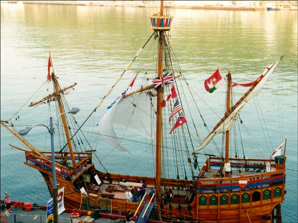 Although there is no contemporary 15th-century depiction of the Matthew, this historical replica was built for the 'Cabot 500' anniversary celebrations  in Newfoundland during the summer of 1997. This photo shows the Matthew during its call at St. John's Harbour.