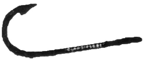 A good example of a small iron fish hook used in the hand line migratory fishery dating from ca. 1675. A distinctive characteristic of the pre-19th century cod hook was a flattened end instead of an eye to secure the line. Found at the Ferryland archaeology site.