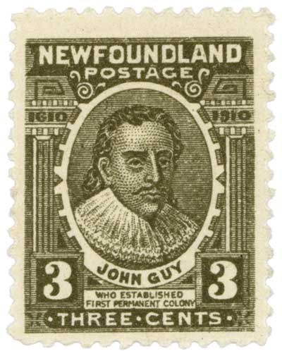In 1910 Newfoundland issued a commemorative stamp to celebrate the 300th anniversary of the founding of Cupids by John Guy. Cupids was the 2nd oldest English colony in the New World after Jamestown, Virginia. Guy was the first proprietary governor in Newfoundland.