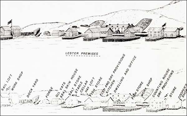 A modern depiction of the Lester and Company premises at Trinity in the late 18th century.