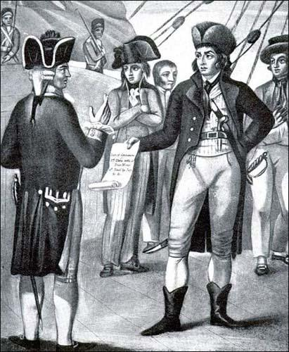 Discontent among sailors at the Nore led to a mutiny on May 12, 1797. This painting shows the leader, Richard Parker, handing the mutineers' terms to Vice-Admiral Buckner on board the battleship Sandwich.