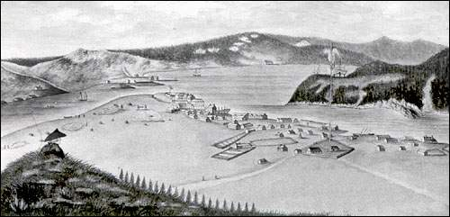 From the logbook of H.M.S. Pegasus. A view of the town and harbour of Placentia.