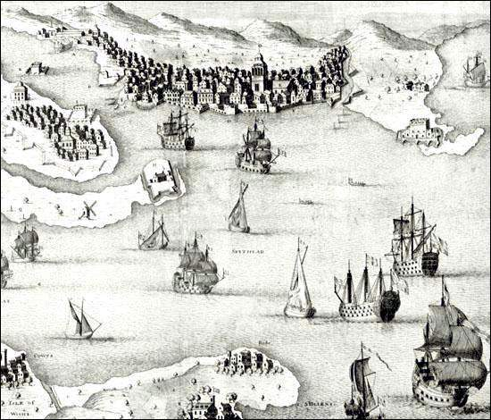 Portsmouth was among the most important naval ports in Britain. Naval vessels destined for the  Newfoundland station often left from here. Detail from an engraving by Hulsbergh after Lightbody.