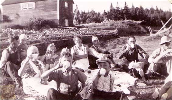 The Budgell and Combden families enjoying a picnic in front of Joseph Budgell's house, Wild Cove, Fogo Island, NL.  The community was resettled under the Centralization Programme in the late 1950s and early 1960s. To view other images visit the Maritime History Archive's  Wild Cove section of their Resettlement site.