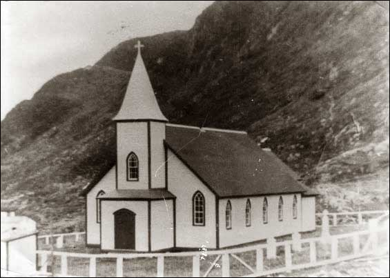 St. John Anglican Church, Grole, NL, built in 1945. The commuity was abandoned by 1971. For more information visit the Maritime History Archive's  Grole section of their Resettlement site.