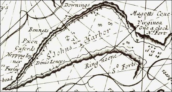An inset from the English Pilot of 1689. The image shows that the town was being used by both residents and migratory fishermen. The white squares along the waterfront show the fishing rooms of the residents, known as planters, and the black squares show the areas set aside for migratory fishermen.