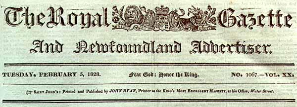 Newfoundland's first newspaper.
