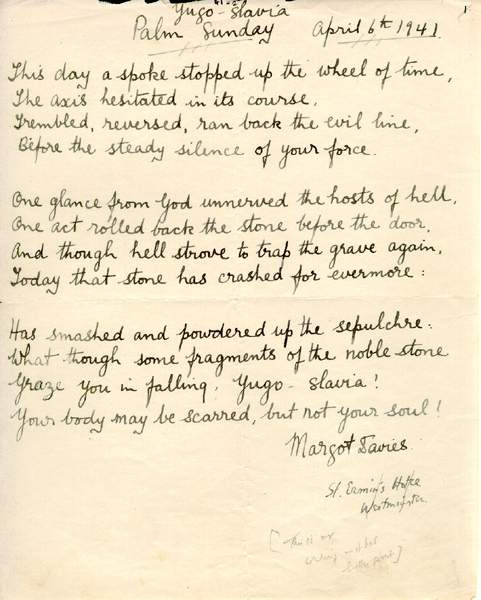 The original copy of this poem from Calling Newfoundland is written in Margo Rhys Davies' own hand.