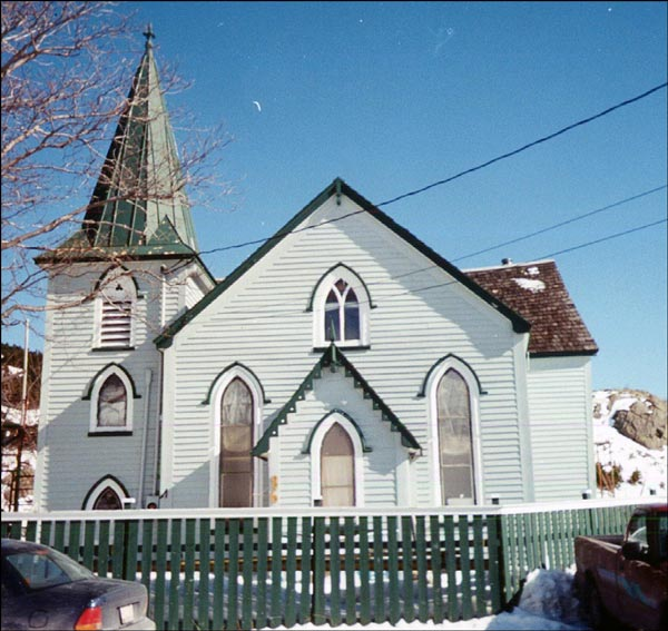 A Gothic Revival wooden structure, Christ Church, is representative of the architecture of an early-19th-century outport village house of worship.