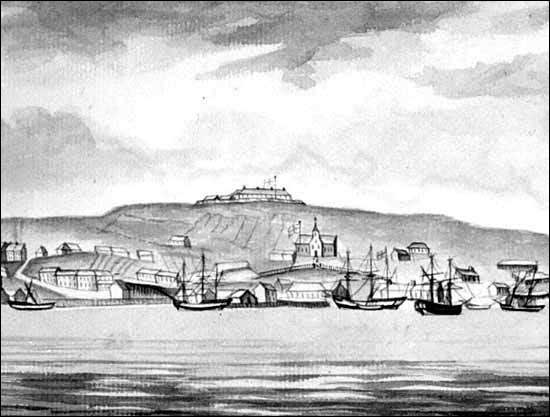 This painting of St. John's in the late 1700s shows Fort Townshend in the top centre.