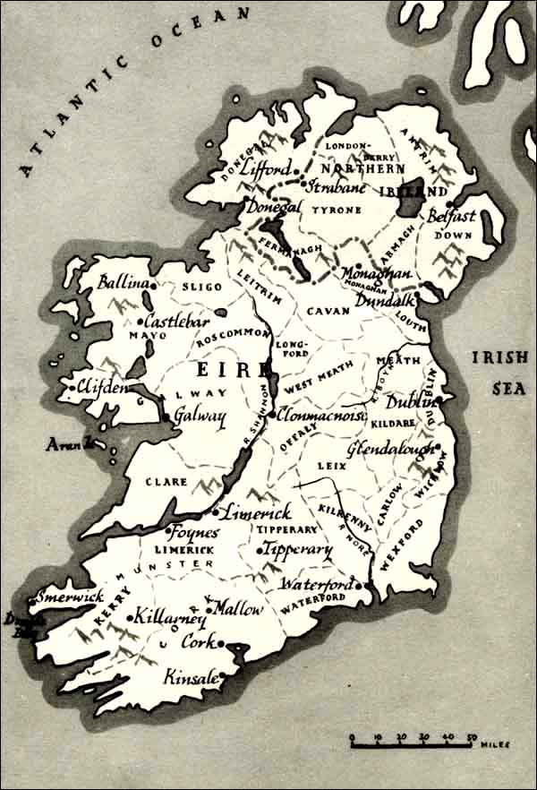 Map Of Ireland Heritage Sites.Irish Migration