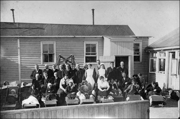Tuberculosis patients on the deck of Jensen Camp. Opened in 1916, it was named for Private Philip Jensen of Harbour Breton.