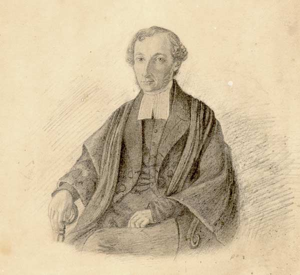 Thomas Wood was the first priest ordained by Bishop Spencer in the Church of England diocese of Newfoundland. This sketch may have been commissioned by Reverend Benjamin Smith who served as a missionary in Newfoundland during the same time as Wood.