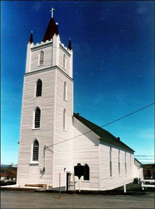 St. Peter's Anglican Church is a good example of a simplified Gothic Revival style employed in an outport church.