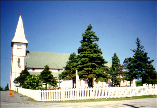 St. Peter's Anglican Church is a good example of a 19th-century Gothic Revival heavy timber-frame church.