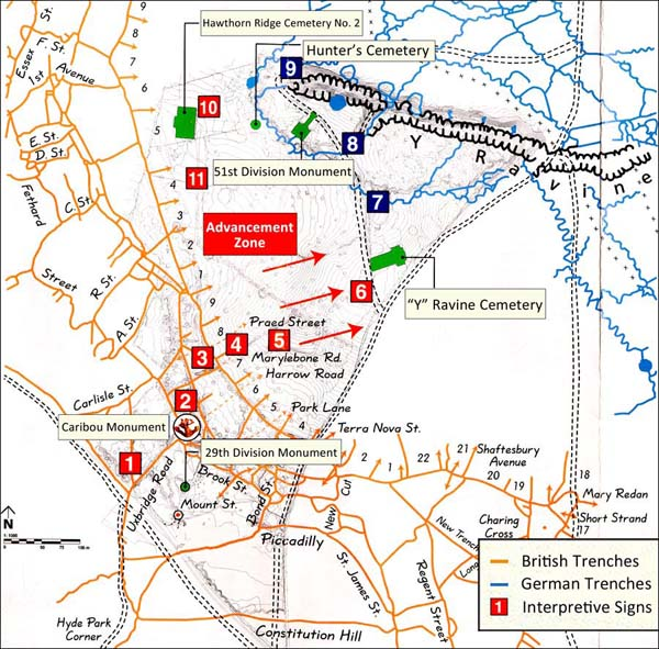 Beaumont Hamel Guide Map Interpretation Signs Key