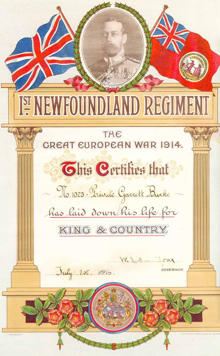 Miscellaneous Royal Newfoundland Regiment In The First